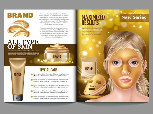 Tijdschriftsjabloon van cosmetica.
