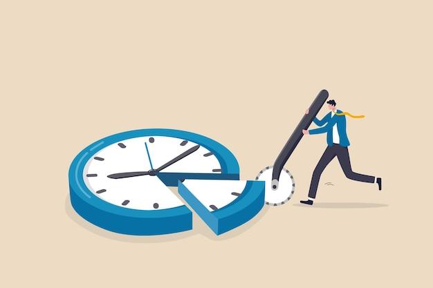 Tijdtoewijzing, beperkte tijd beheren om de uitkomst te optimaliseren, projectbeheer of efficiëntie- en productiviteitsconcept, slimme zakenman gesneden wijzerplaat met pizzasnijdermetafoor van tijdbeheer.