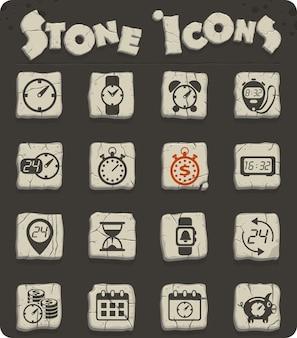 Tijdvectorpictogrammen op stenen blokken in de stijl van het stenen tijdperk voor web- en gebruikersinterfaceontwerp