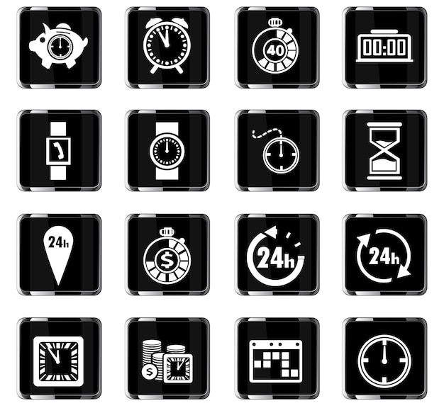 Tijdvectorpictogrammen voor gebruikersinterfaceontwerp