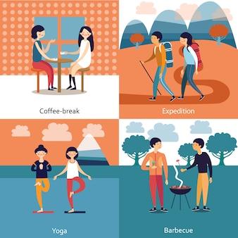 Tijdverdrijf van vrienden illustratie