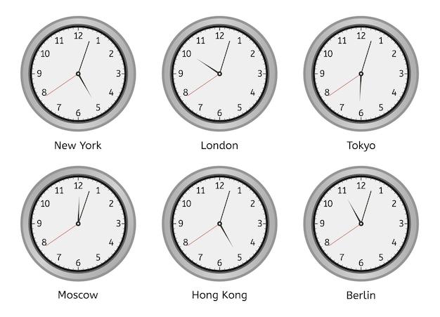 Tijdzoneklokken. moderne muur ronde wijzerplaat, tijdzones dag en nacht klok, wereld grote steden tijdsverschil illustratie set. klokmuurzone, hoteltijd berlijn, hong kong en moskou