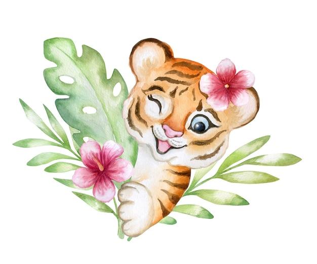 Tijger baby speelgoed tijger cub aquarel geïsoleerd op een witte achtergrond in tropische bladeren planten