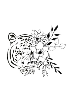 Tijger bloem hoofd eenvoudige tekening