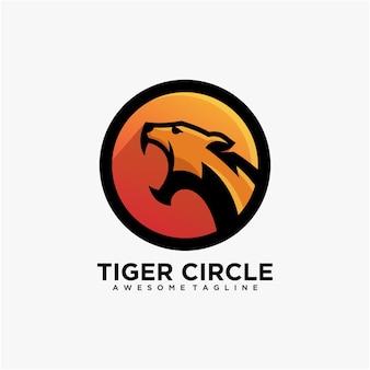 Tijger cirkel logo ontwerp vector moderne kleur