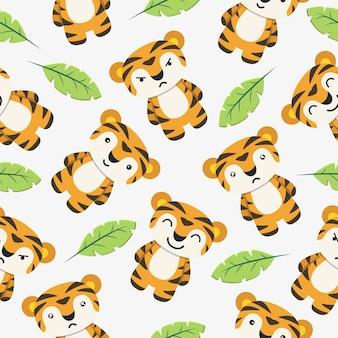 Tijger cute cartoon naadloze patroon