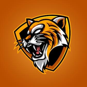 Tijger e sport mascotte-logo