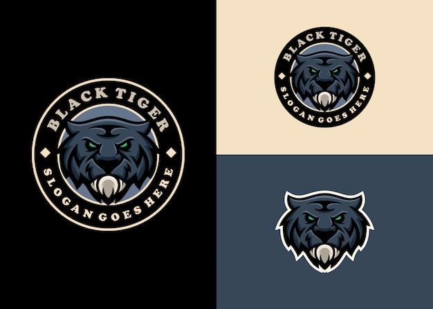 Tijger embleem mascotte moderne karakter logo ontwerp