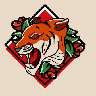 Tijger en roos embleem logo karakter tattoo-stijl