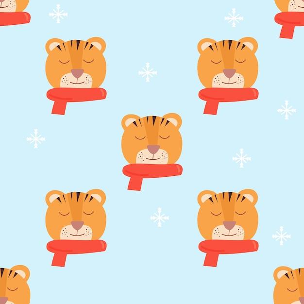 Tijger gezicht met rode sjaal blauwe sneeuwvlok achtergrond naadloze patroon vector cartoon afbeelding