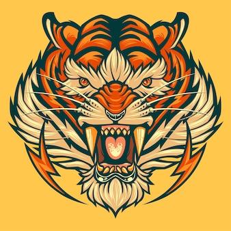 Tijger hoofd mascotte logo beest dier