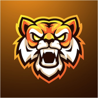 Tijger hoofd mascotte logo