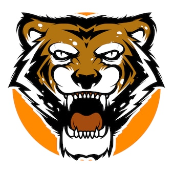 Tijger hoofd mascotte sport logo sjabloon