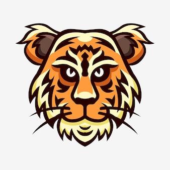 Tijger hoofd mascotte sport logo