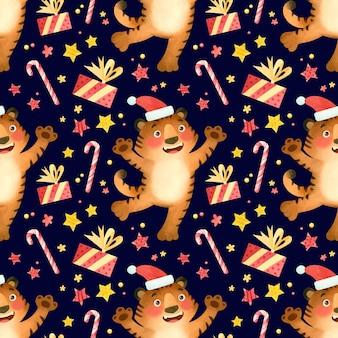 Tijger in nieuwjaarshoed met naadloos patroon van kerstcadeaus symbool van het nieuwe jaar 2022