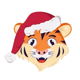 Tijger karakter symbool van het nieuwe jaar in een rode kerstmuts wilde dieren van afrika met vrolijke emoties