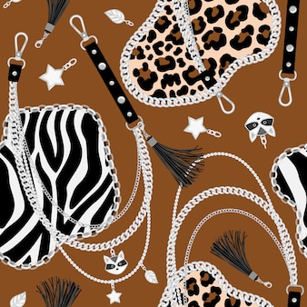 Tijger ketent naadloos patroon