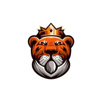 Tijger koning mascotte logo ontwerp illustratie