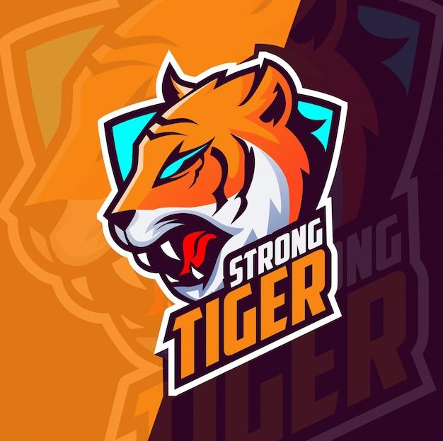 Tijger mascotte esport logo ontwerp