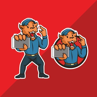 Tijger mascotte logo. tijger met gadget en roepnaam maken.