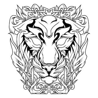 Tijger met bloemist ornament line art illustration