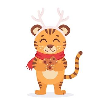 Tijger met gemberkoekje wenst een vrolijk kerstfeest en een gelukkig nieuwjaar 2022 jaar van de tijger