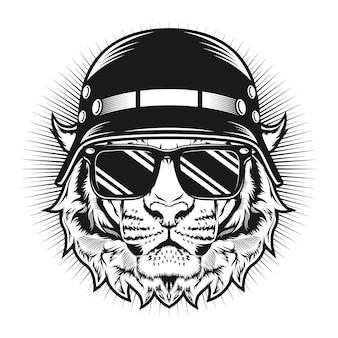 Tijger met helm en bril gedetailleerd vectorontwerpconcept