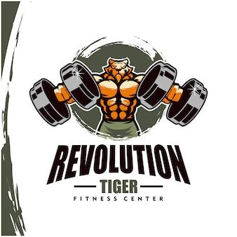 Tijger met sterk lichaam, fitnessclub of gymlogo.