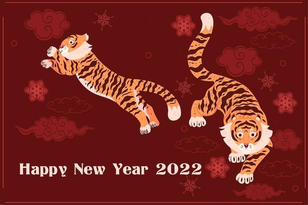 Tijger nieuwjaar 2022 poster op rode achtergrond. vectorafbeeldingen.