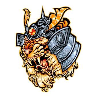 Tijger ronnin samurai mascotte logo beest