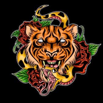 Tijger roos en snack tattoo illustratie