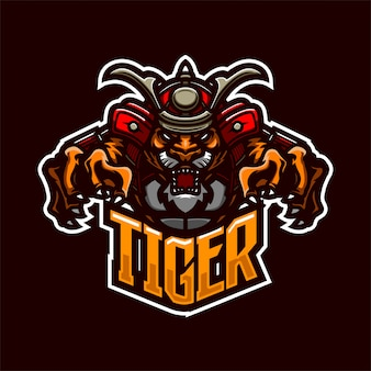 Tijger samurai ridder premium mascotte logo sjabloon