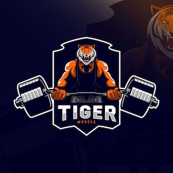 Tijger spier mascotte logo e-sport ontwerp