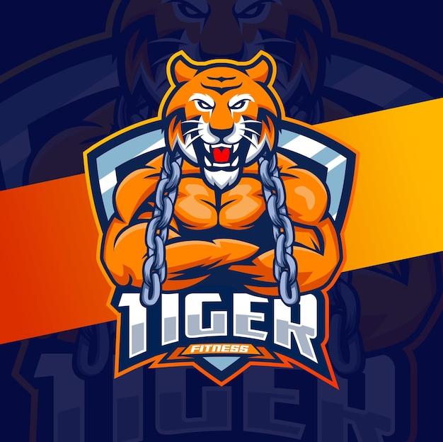 Tijger sterk fitness karakter mascotte logo ontwerp voor fitness bodybuilding game en sport logo