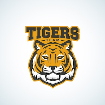Tijger team abstract vector teken, embleem of logo sjabloon