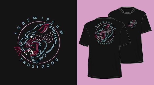 Tijger vintage monoline hand getekend t-shirt ontwerp