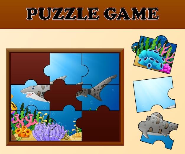 Tijgerhaai in onderzeese met puzzel concept