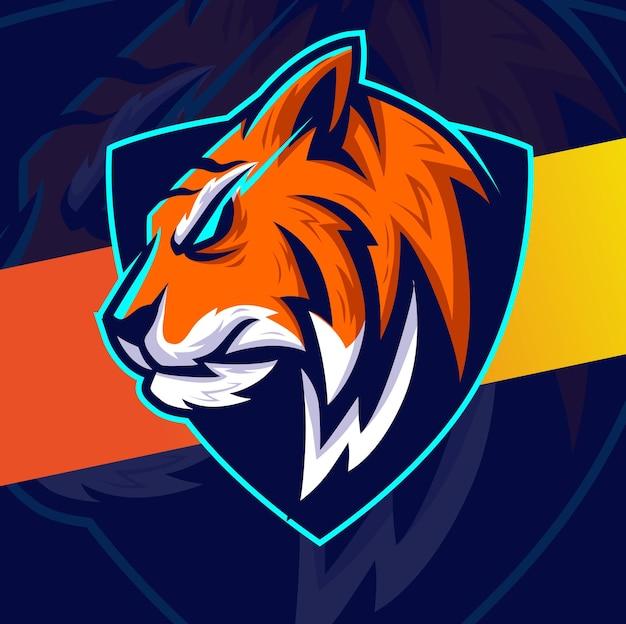 Tijgerkop mascotte esport karakterontwerp voor game sport en dierlijk logo-ontwerp