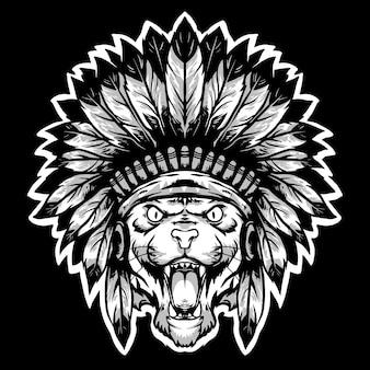 Tijgerkop met apache traditionele hoed logo mascotte
