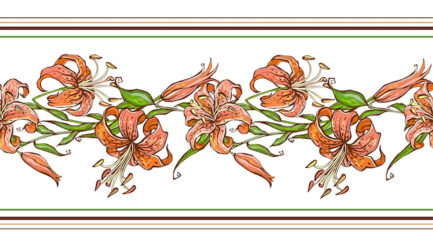 Tijgerlelie. naadloos patroon. bloemenrand.