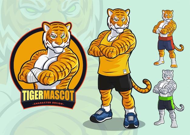 Tijgermascotte voor vlekken en vechtsportenlogo en illustratie met alternatieve verschijningen.