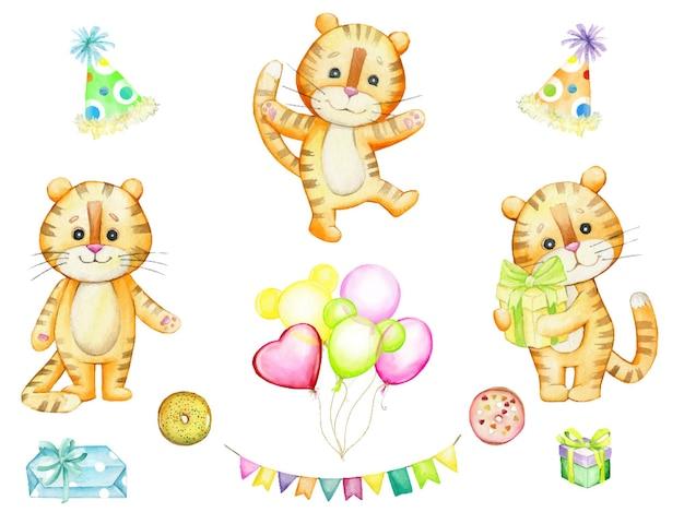 Tijgers, ballonnen, snoep, slingers, geschenken. aquarel, set, dieren, element, geïsoleerd, achtergrond, vakantie, pasgeboren, baby, kinderen.