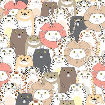 Tijgers en katten naadloos patroon