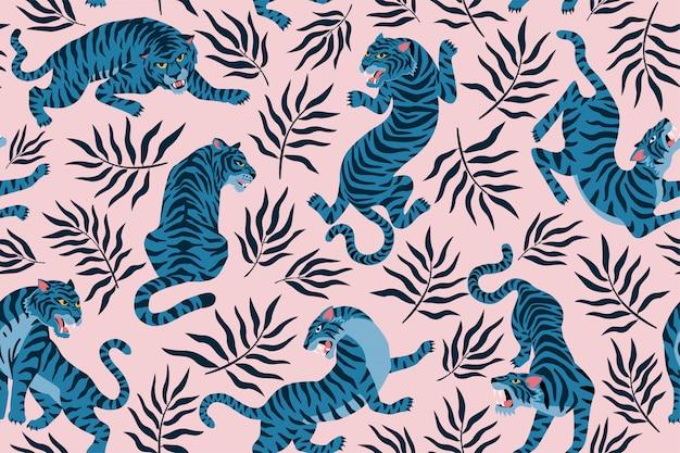 Tijgers en tropische bladeren. trendy illustratie. abstract eigentijds naadloos patroon.