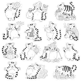 Tijgers set met chinese nieuwjaarssymbolen schattige tigris zwart witte vector cartoon illustraties