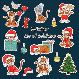 Tijgersymbool van het chinese of oosterse nieuwjaar. set stickers met de naam van 12 maanden. geschikt voor het maken van een kalender. vector illustratie cartoon stijl