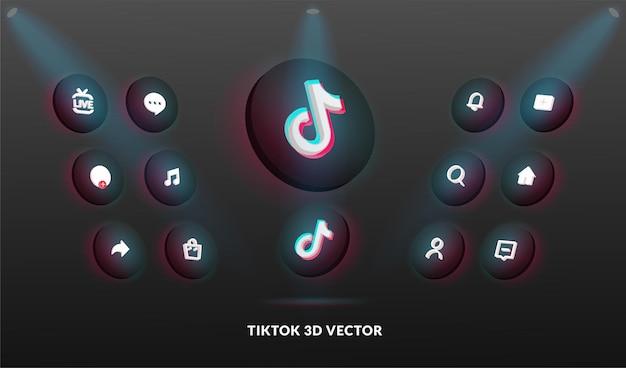 Tik tok-logo en pictogrammenset in 3d-vectorstijl