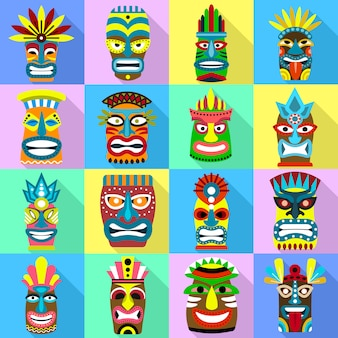 Tiki idolen pictogrammen instellen. platte set van tiki idolen vector