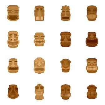 Tiki idool azteekse hawaï gezicht pictogrammen instellen
