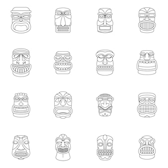 Tiki idool azteekse pictogrammen van hawaï instellen